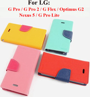 For LG Leather  Mercury Hybrid Wallet Flip Leather Case Cover With TPU inner Stand Card Slot For LG G PRO 2 PRO2 FLEX Optimus G2 Nexus 5 Pro Lite Dual D686