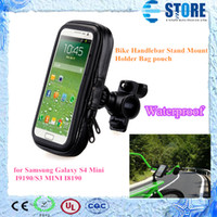 For Samsung Textile For Christmas BLACK IPX4 Waterproof Bicycle Bike Handlebar Stand Mount Holder Bag Pouch for Samsung Galaxy S4 Mini I9190 S3 MINI I8190, wu