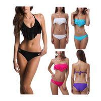 Wholesale S5Q Sexy Ladies Tassel Bandeau Fringe Top Bikini Bottom Beach Swimsuit Swimwear AAADFG