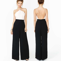 Wholesale 2014 New fashoion women bump color patchwork backless off the shoulder halter high waist wide leg pants european style jumpsuit D267