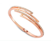 sapphire bracelet - 18K Rose Gold Plated Crystal Swarovski Bracelets for Women Fashion Jewelry K Bangle Elements Sapphire