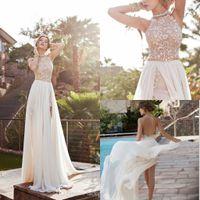 sleeveless halter top - 2015 Julie Vino Halter Lace Top Sexy Backless Beach Prom Dresses Empire Waist A Line Beading Waist Split Evening Gown Boho Dress BO555