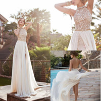 beaded - 2016 Lace Applique Chiffon Prom Dresses Halter Beaded Crystals Short Side Slit Evening Gowns Bohemian Beach Wedding Dresses BO5557