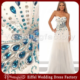 Wholesale 2014 Stunning Peacock Wedding Dress A Line Sweetheart Ruched Chiffon Floor Length White Prom Dresses
