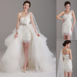 Wholesale Exotic Detachable Skirt Wedding Dresses One Shoulder White Tulle And Lace Short Birdal Gowns Lace Up Beach Bride Dress Two Piece