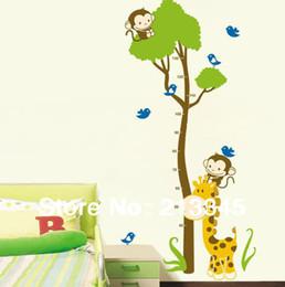 [Saturday Mall] - Giraffe monkey tree sticker Kids Growth Chart Height Tower Growth Measure wall stickers Grow Up 6295