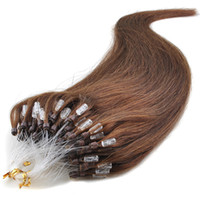 Wholesale 4A Silky Straight s Inches Remy Micro Ring Easy Loop Hoop Virgin Real Human Hair Extensions Medium brown g