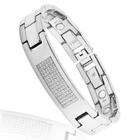 Wholesale 2014 men jewelry CZ Stone energy Infrared Germanium Titanium men magnetic bracelets health