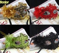 Wholesale Mix Colors Top Quality Charms Lace Feather New Year Masquerade Ball Party Prom Halloween Fancy Dress Eye Mask