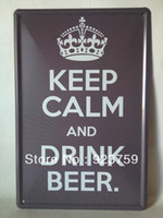 beer drinking cartoons - Keep calm and drink beer Tin Sign Bar pub home Wall Decoration Retro Metal Art Poster