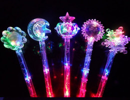 Wholesale Free EMS DHL Crystal Moon Star Leaf Christmas party supplies LED Fairy Glow Sticks Flash Sticks light up Wand Party Disco KTV Kids
