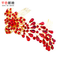 Wholesale Five red rhinestone flower comb head ornaments Korean dish made bridal wedding hair accessories flower head with plug comb wedding