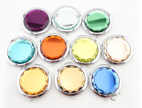 Wholesale New Arrive Cosmetic Compact Mirror Engraved Crystal Magnifying Multi Color Make Up Mirror Wedding Favor Gift