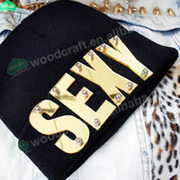 Wholesale DIY Mirror acrylic letter rivet knit Beanies hat custom beanie hiphop hat hiphop sexy