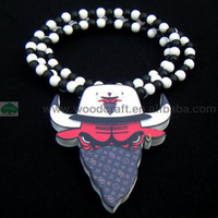 Unisex chicago bull - Rosary BEAD CHIAN New Good Wood chicago bull pendant Necklace Fast Shipping