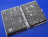 Wholesale Exquisite Egyptian Pattern Stainless Steel Cigarette Case Holds Cigars Silver Grey