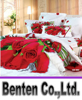Wholesale LLFA5181 cotton D red rose printed bedding sets satin d bed covers bedding set GD