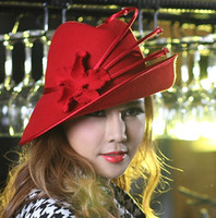 Wholesale Fashion Dress Hat Women Hat Wool Felt Dome Hat Female Fedoras Hat Felt Flower Hat Wide Brim Up Brim Red Black Two Color Available
