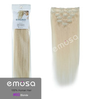 Wholesale Emosa Light Blonde Clip In Human Hair Extensions Real Brazilian Hair Silky Soft Natural Hair