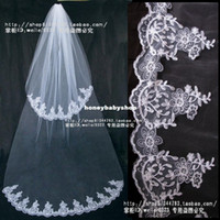 Two-Layer Fingertip Length Lace Applique Edge Wholesale bridal car bone lace veil trailing double- T084 equipped with factory direct custom-made wedding dress