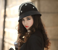 Stingy Brim Hat black felt hat - Women Hats Women Wool Felt Hats Top Hat Winter Hat Black Woolen Hat Wool Two Colors Felt Flower Church Hat6pcs Free Ems Shipping