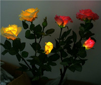 Wholesale New Gift Rose Flower Solar LED Light Lamp Solar Powered Garden Outdoor Decorative Landscape LED Rose Lights Year round Great Gift