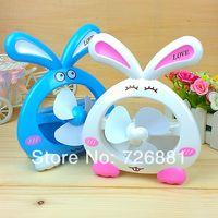 Wholesale Rabbit Shape Small Fan USB Mini Rabbit Fan With inside Battery Four colors to Choose