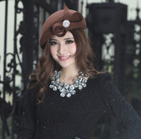 Wholesale Women Winter Hat Felt Hat Wool Made By Wool Fabric Handmade Millinery Chapeau Diamond Casings Two Colors