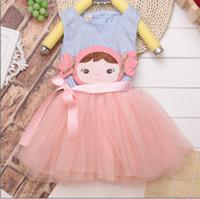 TuTu Summer Pleated Brand New Korean Girl Vest Dress Chest Cute Dolls Head Baby Princess Dress 2-5Year Kids Dresses Children Clothing Free Shipping 8pcs lot