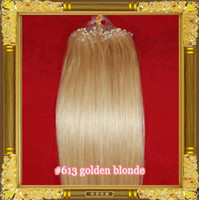 Wholesale 0 g s s Bleach Blonde Indian Remy Micro Rings Loop Hair Extensions TOP GRADE Straight Body Wavy Curly Inches