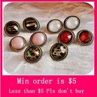 Wholesale Min Order Mix Jewelry order Fashion charming bronze leopard grain crystal gem earrings stud earrings E0090