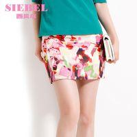 Polyester Above Knee Women 2014 xiaxin female vintage fashion oil painting print rivet slim hip short skirt bust skirt