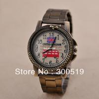 Wholesale JW412 Fashion Vintage Unisex Watch Snake Design UK National Flag Watch Face Brass Wristwatch Retro Clock Singapore Post
