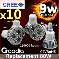 Wholesale CREE W LED Spotlight Bulb E27 GU10 GU5 MR16 E14 Security Light Bulbs Years Warranty FREE SHIPPIN