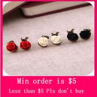 Women's ear piercing studs - Min Order Mix Jewelry order Zest Small Red Rose Flower Stud Earrings for Pierced Ears colors E0161