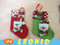 Wholesale 200pcs Christmas stocking Fabric Reindeer santa claus Pendant Xmas gift Ornaments candy bag leonid shop