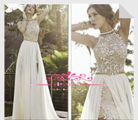 Wholesale summer beach chiffon wedding dress with halter crew neck lace short top chiffon side slit skirt A line short long bridal gowns