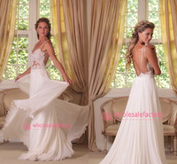 A-Line Reference Images Spaghetti 2014 New Sexy Spaghetti Straps V Neck Appliqued Lace Bodice Pleated Chiffon Backless Beach Boho Wedding Dresses Bridal Gowns
