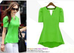 Wholesale Summer Fashion Women s Clothing Chiffon Shirt Euramerican Green Chiffon Unlined Upper Garment Candy Colors S XL t01024