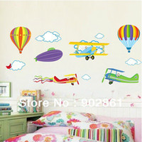 balloons sky art - funlife Colorful Best Selling Airplanes Aircafts and Balloons Sky Decorative Wall Art Paper Sticker Decals for Children room
