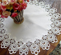 Wholesale 9 off Soluble lace satin white lace table cloth tablecloth coaster x114cm DROP SHIPPING hot sale price