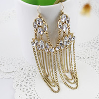 Wholesale High fashion jewelry brincos bijoux gold filled alloy hollow out rhinestone imitation crystal long tassel earrings for women
