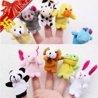 Cheap 10pcs lot Small size animal finger puppet child educational toys plush doll tell story cartoon doll