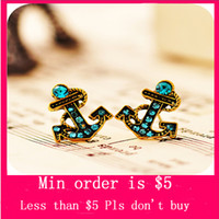 Wholesale Min Order Mix Jewelry order Retro Vintage Fashion Anchor With Diamond Cute Earrings E0154 Blue