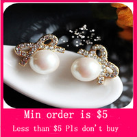 Wholesale Min Order Mix Jewelry order Full Shine Crystal Bowknot Peal Earrings Women Big Pearl Gem Bowtie Ear Studs E0334