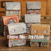 Wholesale 5pcs Mini tin box full colored drawing three dimensional small house small tin candy box gift storage box