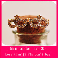 Wholesale Min Order Mix Jewelry order Korean Fashion Lovely Crystal Fox Mask Ear Stud Masquerade Flower Fox Earrings E0078
