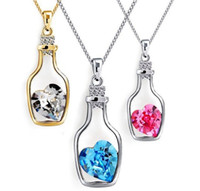 Wholesale Hot Sale Austrian Crystal Drifting Bottle Pendant Necklace Summer Lover jewelry