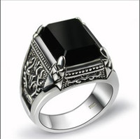 Wholesale 925 sterling silver ring engraved Seiko natural obsidian Men s Rings