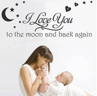 baby nursery wall quotes - listed in stock x101cm I LOVE YOU TO THE MOON Baby Room Kids Nursery Wall decals Saying Quote